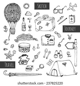 Travel icons set. Hand drawn sketch illustration isolated on white background. Vector