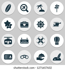 Travel icons set with hotel, quadrupter, certification and other chopper elements. Isolated vector illustration travel icons.