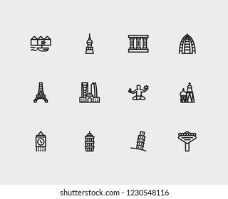 Travel icons set: las vegas, greek, detroit and dubAI, taipei, taiwan set popular traveling cities with statue vector icon illustration for app web mobile UI logo desing.