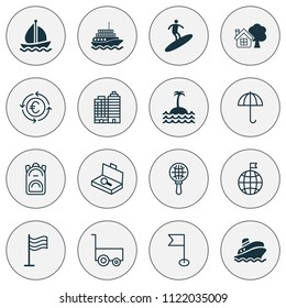 Travel icons set with motor ship, buildings complex, flag and other pin elements. Isolated vector illustration travel icons.