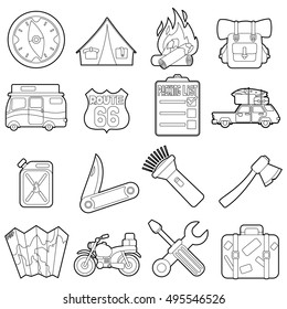 Travel icons set. Outline illustration of 16 travel vector icons for web