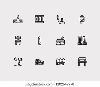 Travel icons set: rome, london, vietnam and shanghAI, parliament, gyeongbokgung set popular traveling cities with tradition vector icon illustration for app web mobile UI logo desing.