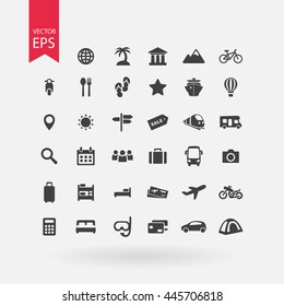Travel icons set. Tourism signs collection. Vacation symbols isolated on white background. Flat design style