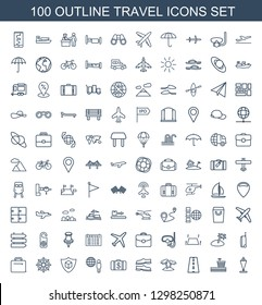 travel icons. Trendy 100 travel icons. Contain icons such as flag, airport, road, palm, slippers, Money case, globe and man, cargo insurance, helm. travel icon for web and mobile.