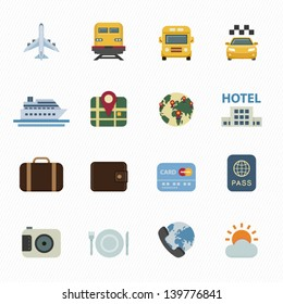 Travel Icons and Vacation Icons with White Background
