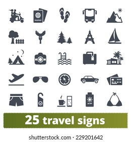 Travel icons: vector set of vacation and transport signs