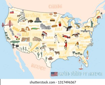 Travel illustration map concept of USA hand drawn background,vector
