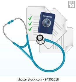 Travel immunization, vaccination checklist, passport, documents, stethoscope