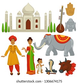 Travel to India culture symbols architecture and animals vector man and woman in sari with baby Taj Mahal building elephant and cow snake and buddha statue sitar musical instrument and Hamsa hand.