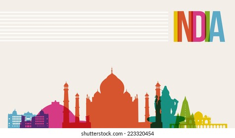 Travel India famous landmarks skyline multicolored design background. Transparency vector organized in layers for easy create your own website, brochure or marketing campaign.