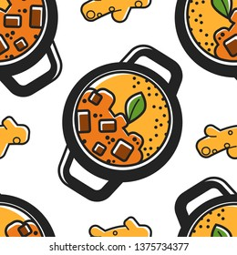 Travel to India Indian cuisine seamless pattern national food vector sabji and ginger root rice and vegetables potato and curry organic plant endless texture meal or dish in pan wallpaper print