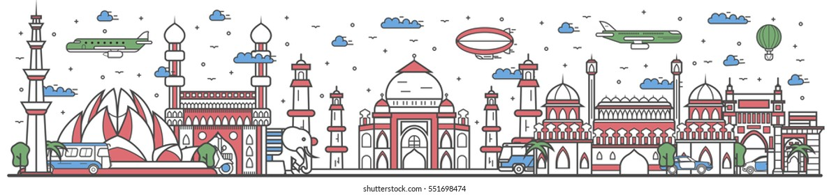 Travel India landmark banner vector illustration. World tour in India travel concept with famous modern and ancient architectural attractions. Must see India landmark panorama, tourist travel design