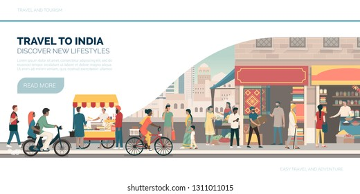 Travel to India: vacations and tourism banner with traditional buildings, people and street food