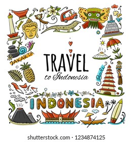 Travel to Indonesia. Greeting card for your design