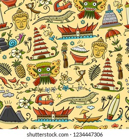 Travel to Indonesia. Seamless pattern for your design