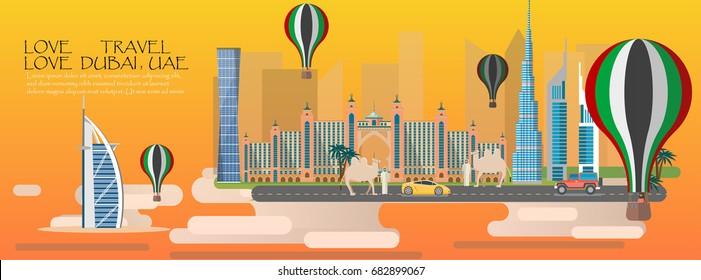 Travel infographic. Dubai infographic tourist sights of UAE, welcome to Dubai. United Arab Emirates   infographic. Travel to Dubai presentation template,Middle East Region