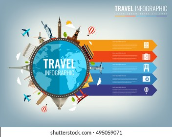 Travel infographic. Infographics for business, web sites, presentations, advertising. Travel and Tourism concept. Vector illustration