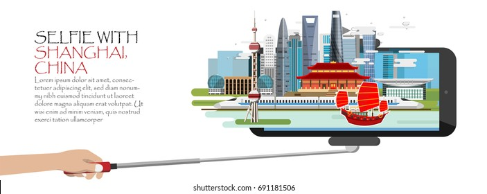 Travel infographic .selfie with Shanghai. China infographic ,Selfie stick with mobile or cell phone. Discover Shanghai concept.