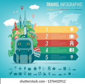 Travel infographic with world landmarks. Infographics for business, web sites, presentations, advertising. Travel and Tourism concept. Vector illustration