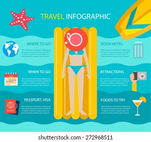 Travel infographic with young woman lying on yellow air mattress and tanning in summer. Summertime journey design elements, vector illustration