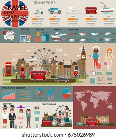 Travel infographic.London infographic tourist sights of Great Britain, welcome to England. United kingdom infographic. Travel to London presentation template.