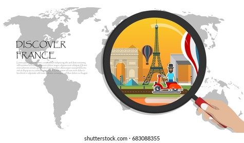Travel infographic.Paris infographic; welcome to France. discover france;World Map with Magnifying Glass,hand holding magnifying glass,Discover france concept.