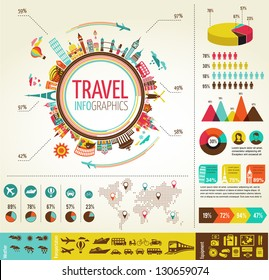 Travel infographics with data icons and elements