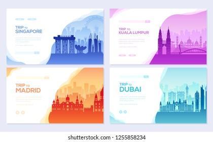 Travel information brochure card set. Landscape ñountry Singapore, Kuala Lumpur, Madrid, Dubai of template of flyear, web banner, ui header, enter site. Layout invintation modern