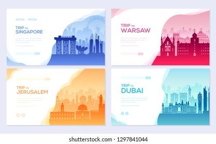 Travel information brochure card set. Landscape country Singapore, Warsaw, Jerusalem, Dubai of template of flyear, web banner, ui header, enter site. Layout invintation modern