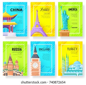Travel information cards set. Landscape template of flyear, magazines, posters, book cover, banners. Layout city pages. Vector package greeting card or invitation design background