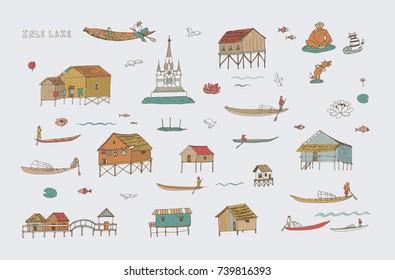 Travel Inle lake Myanmar Burma doodle vector illustrations set
