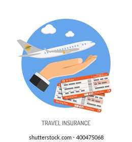 Travel Insurance Flat Icon for Poster, Web Site, Advertising like Hand, Aircraft and tickets. vector illustration