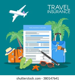 Travel insurance form concept vector illustration. Vacation background, luggage, sunglasses, plane, palms.