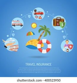 Travel Insurance service Infographics set icon for Poster, Web Site, Advertising like Beach, Aircraft, Ambulance, Car and accident. vector illustration