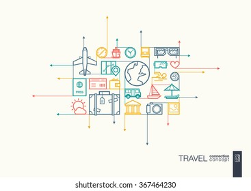 Travel integrated thin line symbols. Motion arrows vector concept, with connected flat design icons. Abstract background illustration for tourism, holiday, trip, summer, vacation concepts.