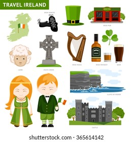 Travel to Ireland. Set of illustrations of Irish architecture, drinks, costumes, traditional symbols, music, musical instruments, dancing, nature. Irish people. Collection of flat icons to guide.