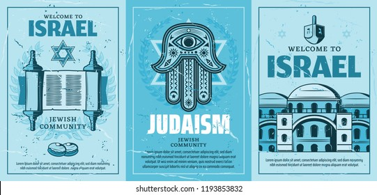 Travel to Israel posters with Judaism religion symbols. Star of David and holy torah scroll, Fatimas hand amulet, synagogue and architecture building. Vector retro brochures for Jewish community