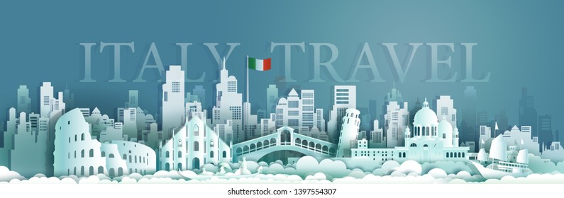 Travel italy Europe architecture famous landmarks by gondola and sailboat, Tourism venice popular landmark italy and flag Italy, Origami paper cut style for art and postcard, Vector illustration.
