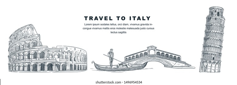 Travel to Italy hand drawn design elements. Vector sketch illustration of Colosseum, Leaning Tower of Pisa, Rialto Bridge. Rome, Venice, Pisa famous symbols isolated on white background.