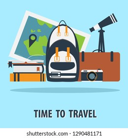 Travel items on blue background.