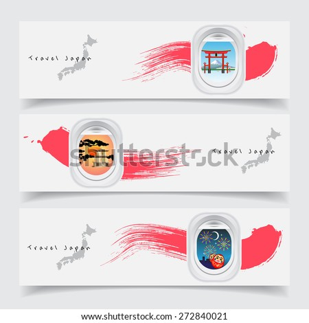travel japan concept banner template air stock vector royalty free