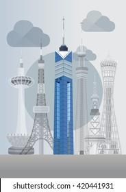 Travel Japan famous tower series vector illustration - Fukuoka Tower