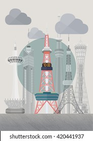 Travel Japan famous tower series vector illustration - Sapporo TV Tower