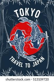 Travel to Japan, Tokyo poster, typography for t-shirt print , japan carp art, vector illustration