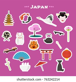 7f5d042d6 Travel to Japan, Tokyo vector icons set. Japanese landmarks, nature,  traditions and