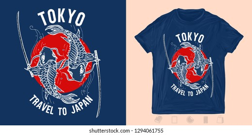 Travel to Japan. Two carps fish. Print for t-shirts and another, trendy apparel design
