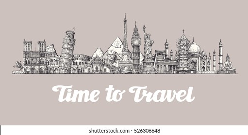 Travel, journey. Around the world, Sights of countries. Banner, vector illustration