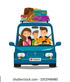 Travel, journey concept. Happy family rides in minivan. Cartoon vector illustration