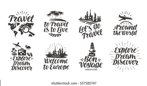 Travel, journey set icons. Handwritten lettering. Label vector illustration