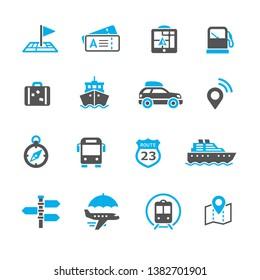 Travel journey vector icons set